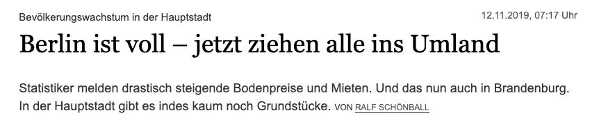 Berlin ist voll – Tagesspiegel Artikel Headline