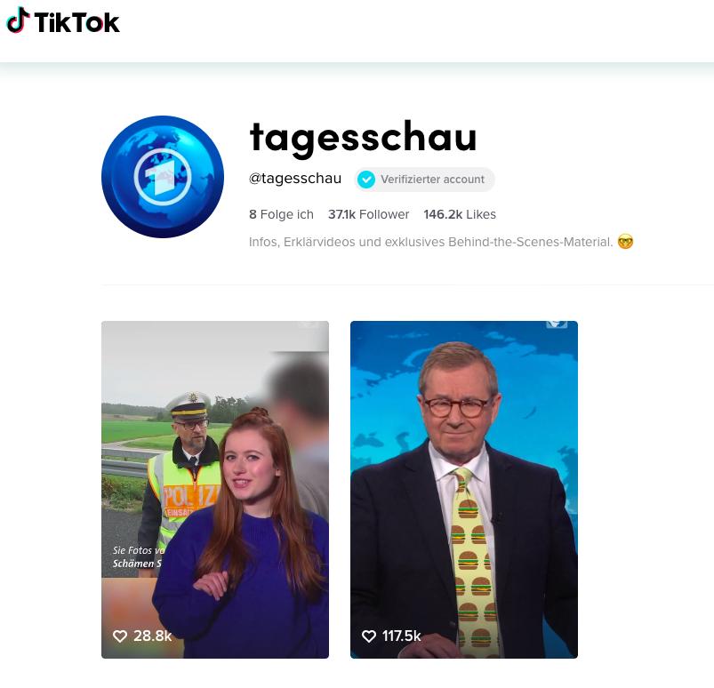 Zeigt TikTok Account der Tagesschau
