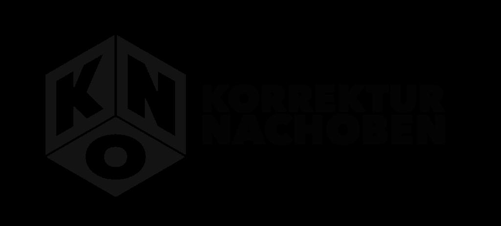 Die Grafik zeigt das Logo der Agentur Korrektur NachOben. Auf einem schwarzen Würfel stehen in weißer Schrift die drei Buchstaben k, n und o. Neben dem Würfel steht in schwarzer Schrift Korrektur NachOben.